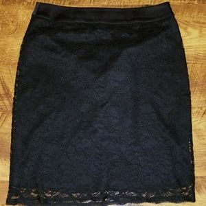 Black lace covered skirt